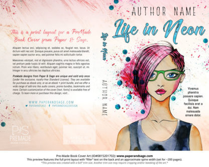 Print layout for Pre-Made Book Cover ID#0815201702 (Life in Neon)