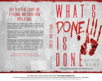 Print layout for Pre-Made Book Cover ID#170901TA02 (What's Done is Done)